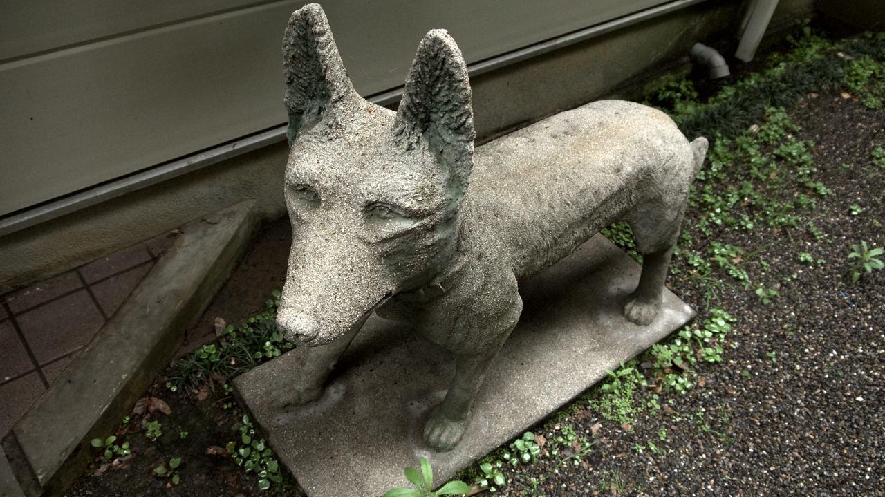 a stone dog statue