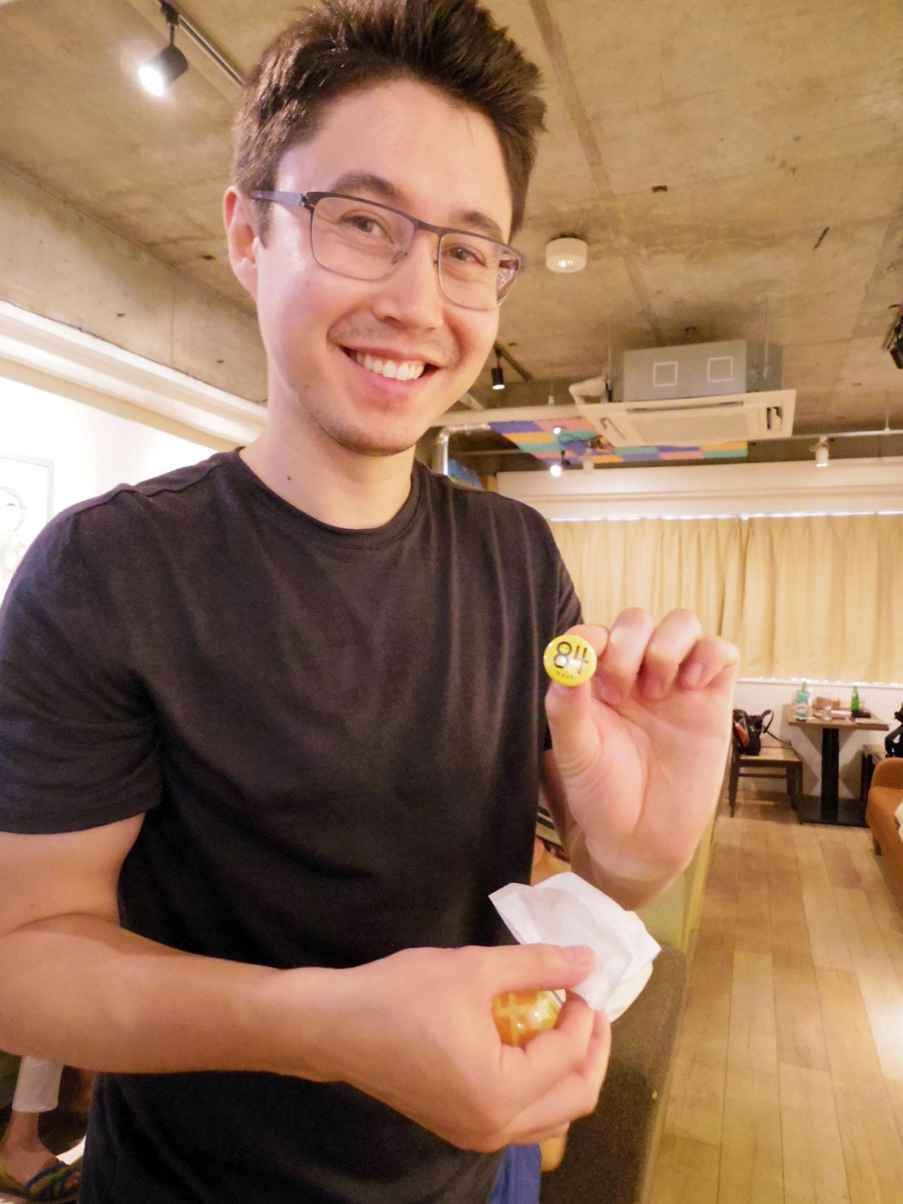 koichi winning a pin