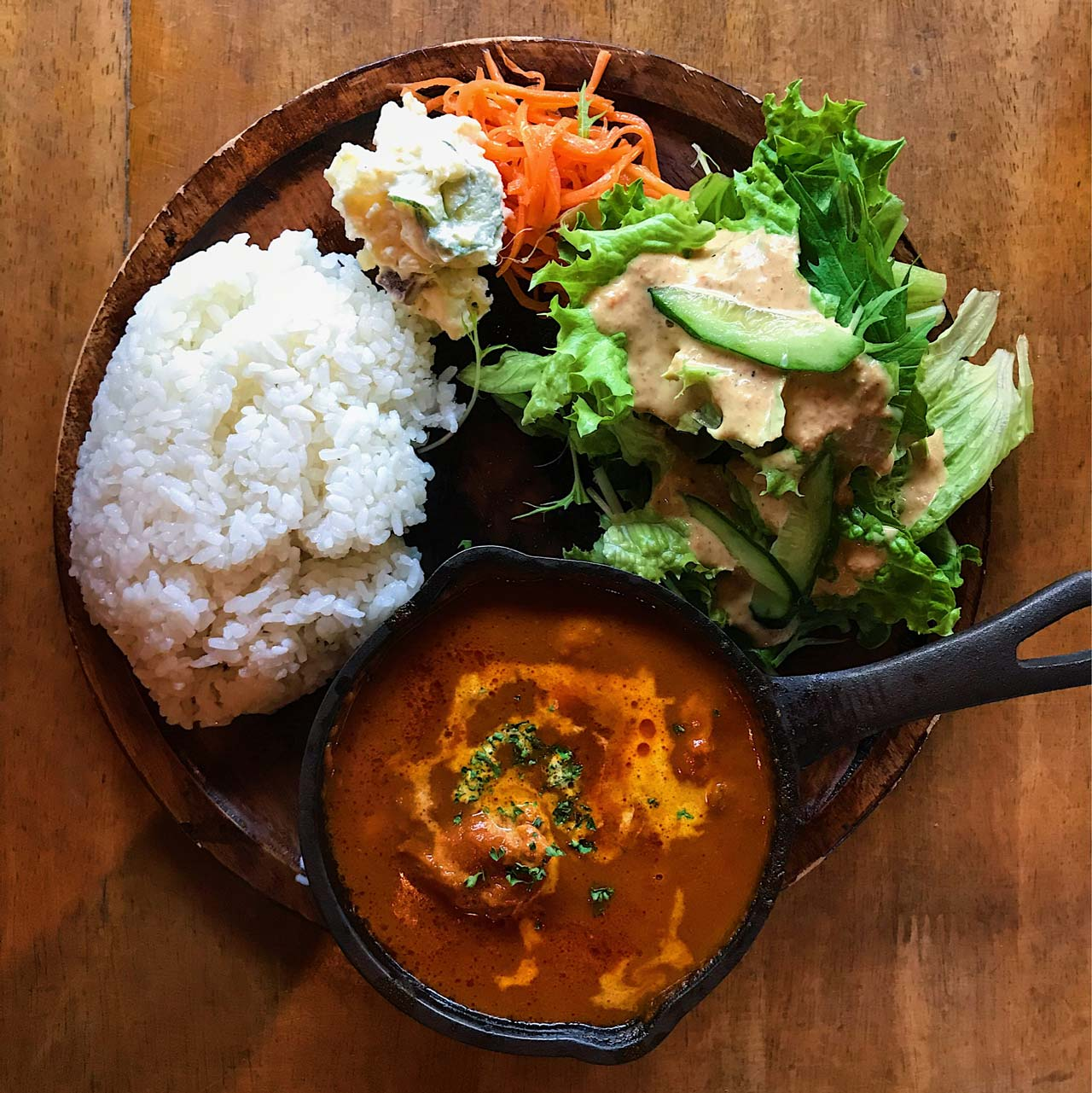 butter curry and salad in tokyo
