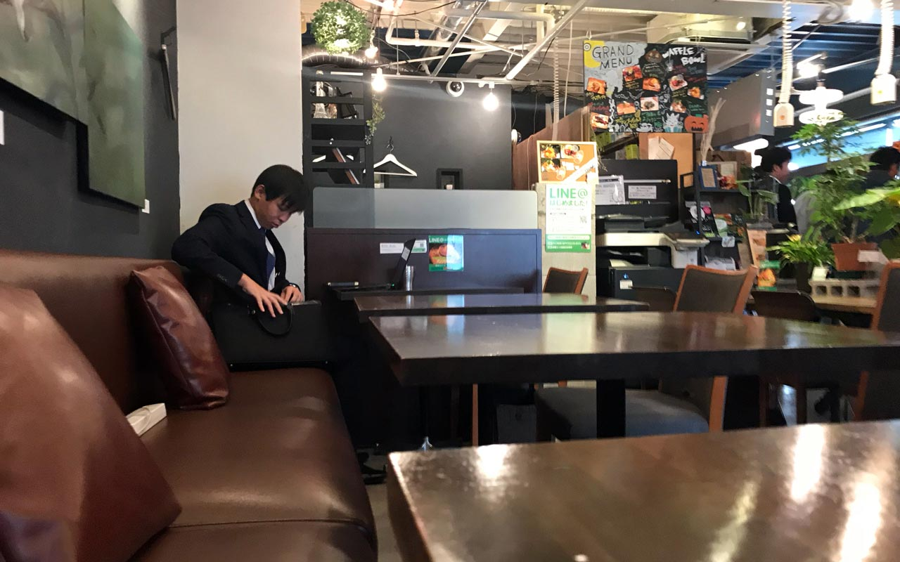 japanese salaryman at tokyo shared office