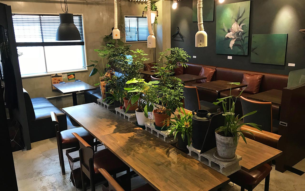 tables in a japanese coworking space