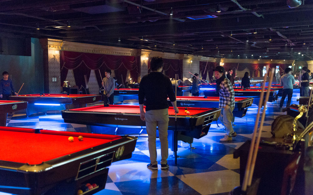 pool tables inside anata no warehouse