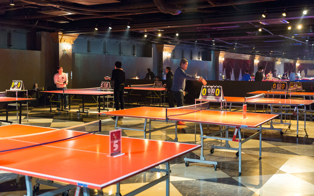 ping pong tables inside anata no warehouse