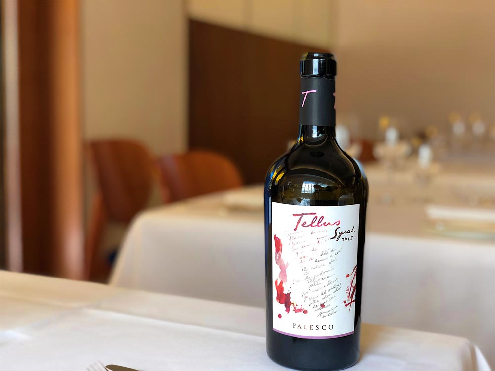 a bottle of wine at an italian restaurant