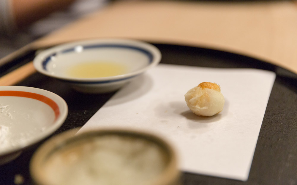 quail egg tempura made at expensive japanese restaurant