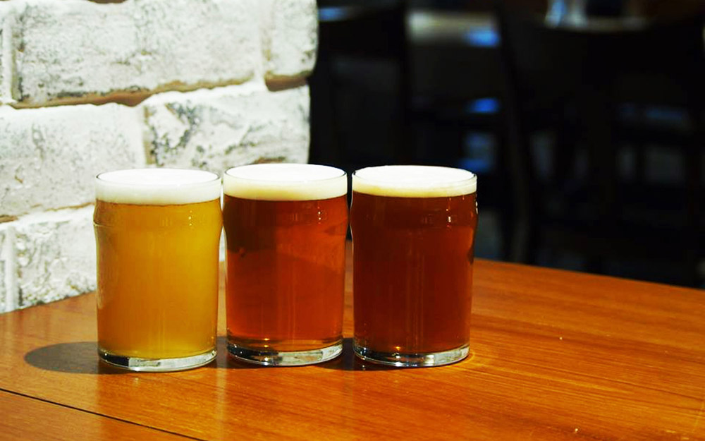three craft beers at on the marks restaurant