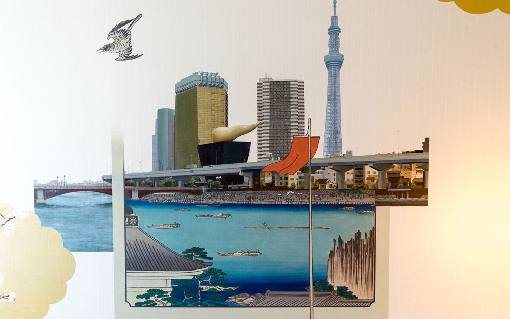 mural blending ancient and modern tokyo