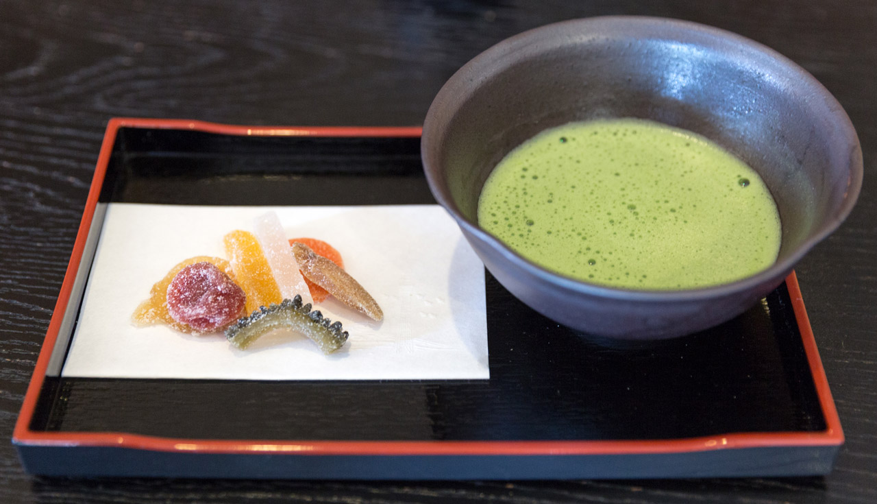 candied vegetable tray with matcha