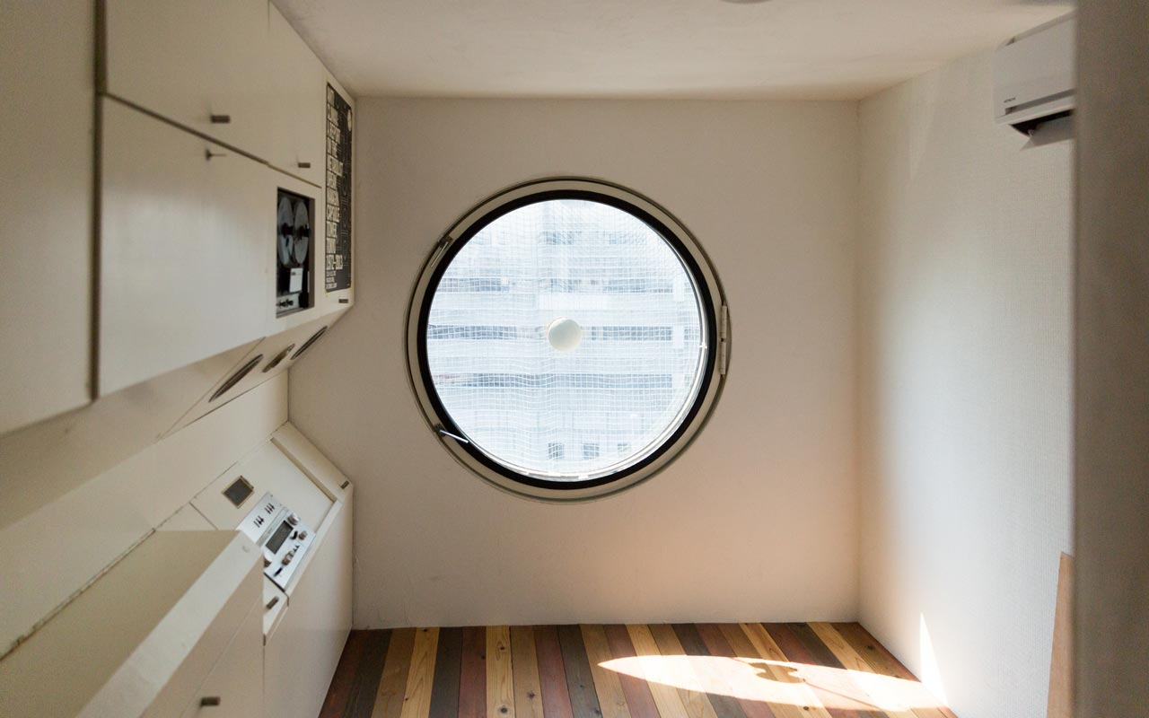 inside a renovated room at nakagin capsule tower