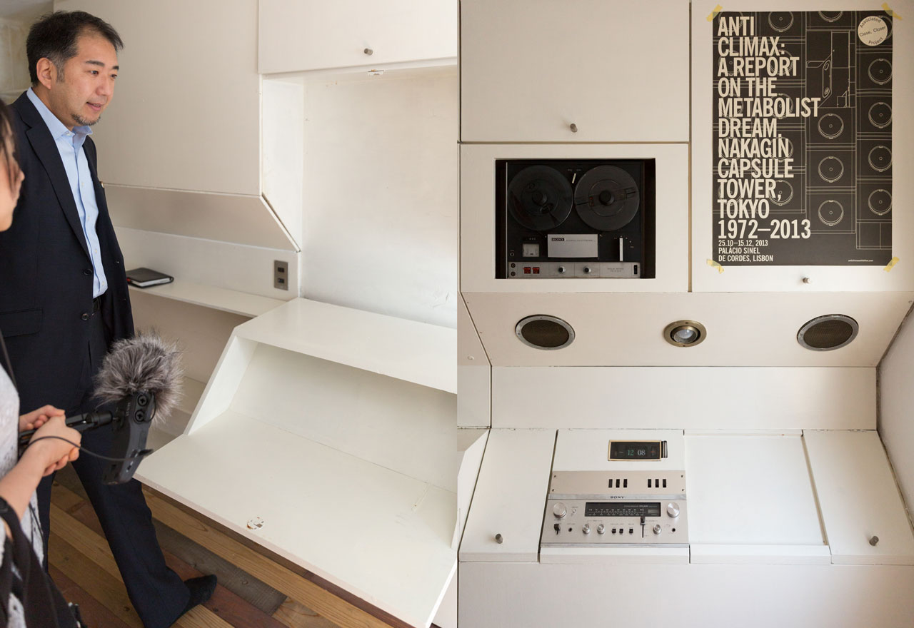 renovated cabinets and sound system at nakagin capsule tower