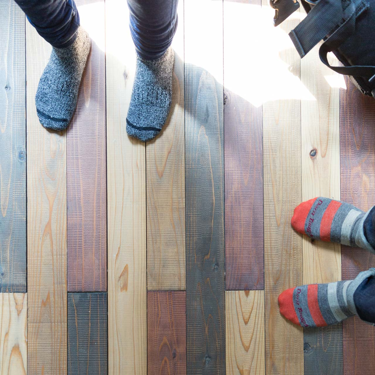hardwood floors and feet in nakagin capsule tower