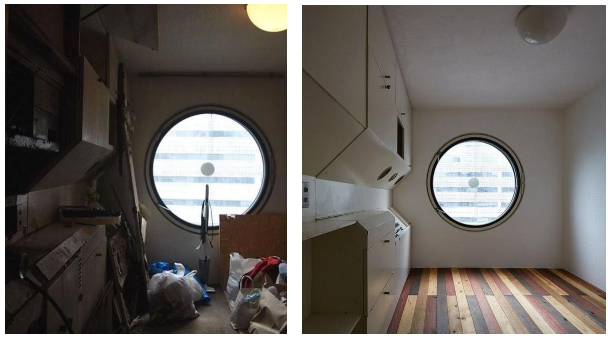 interior view of nakagin capsule tower room