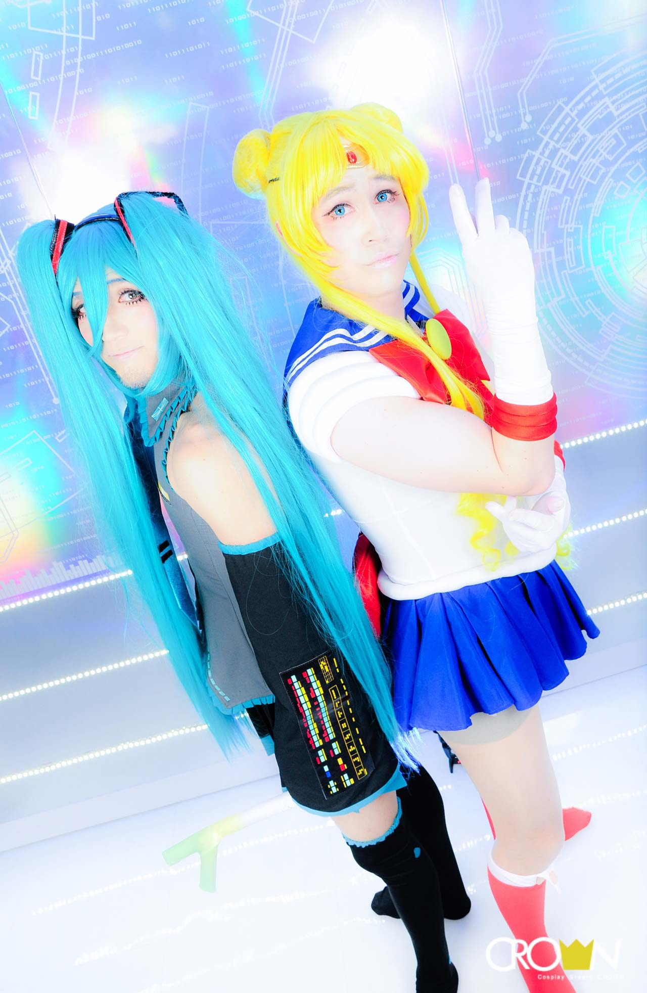 two men dressed as sailor moon and hatsune miku at studio crown