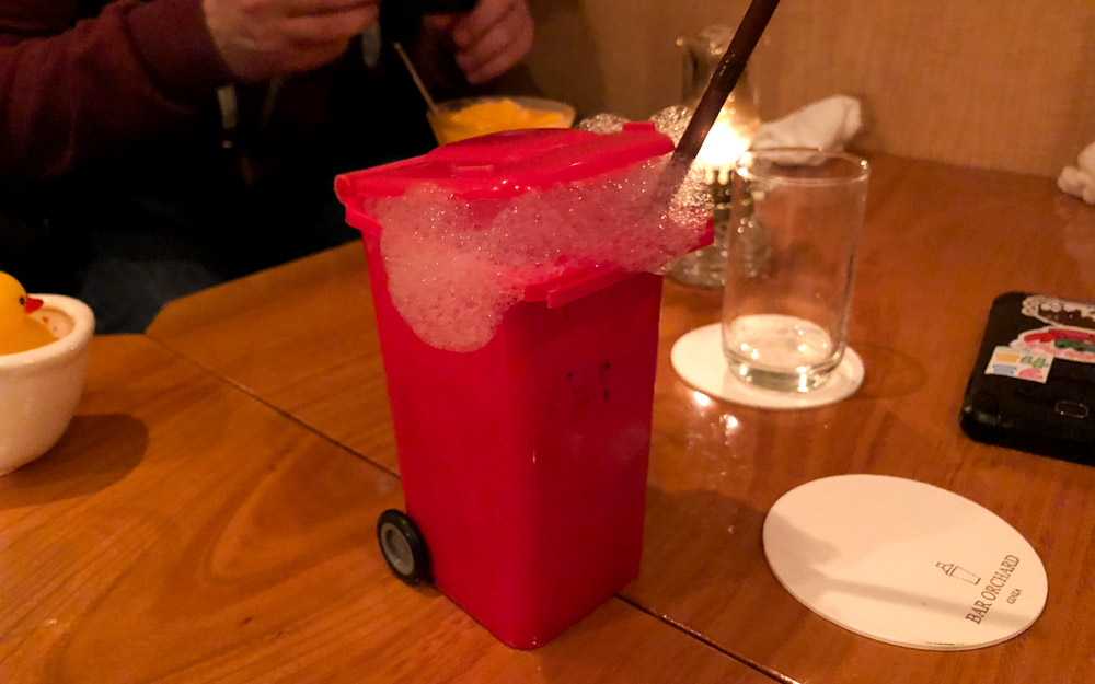 fresh fruit cocktail in novelty mini trash can