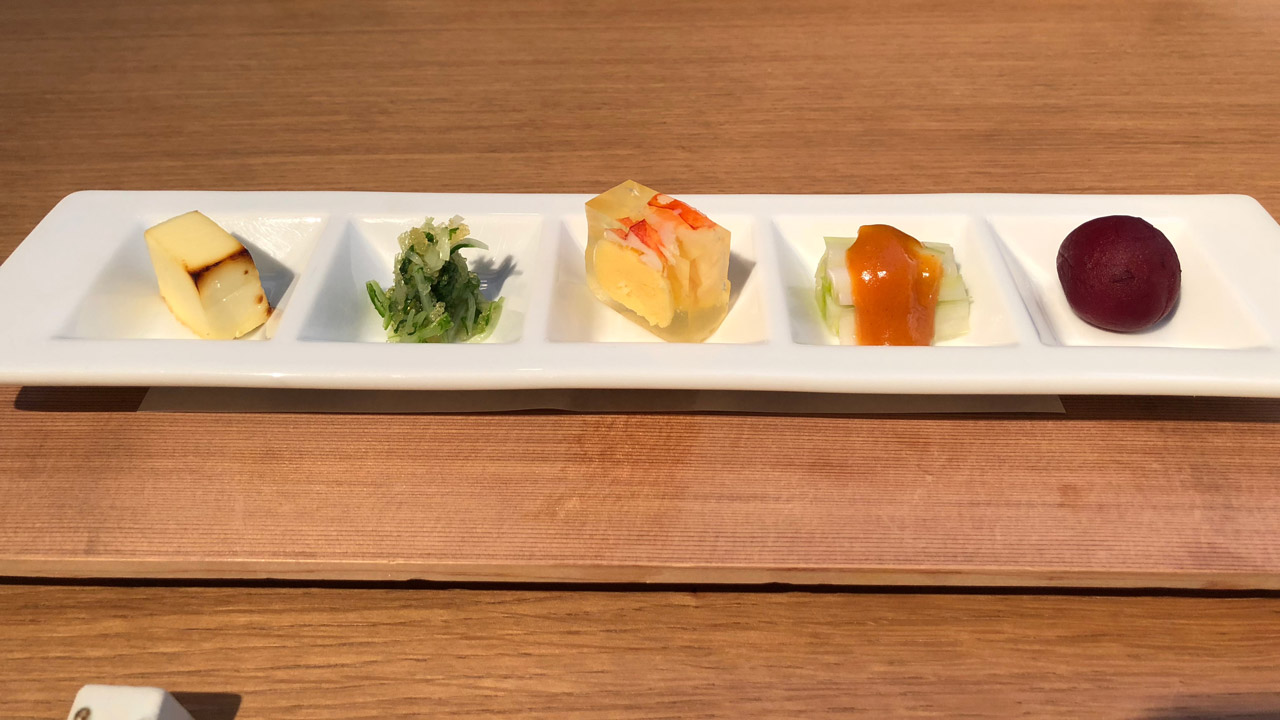 plate of small appetizers at iron chef restaurant
