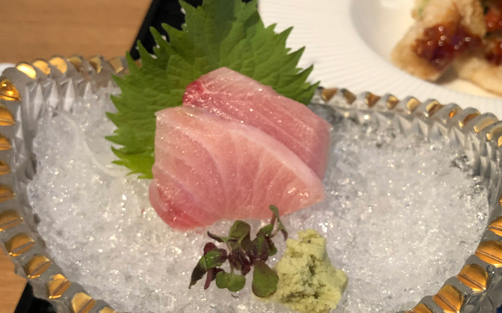 sashimi on ice served in japan