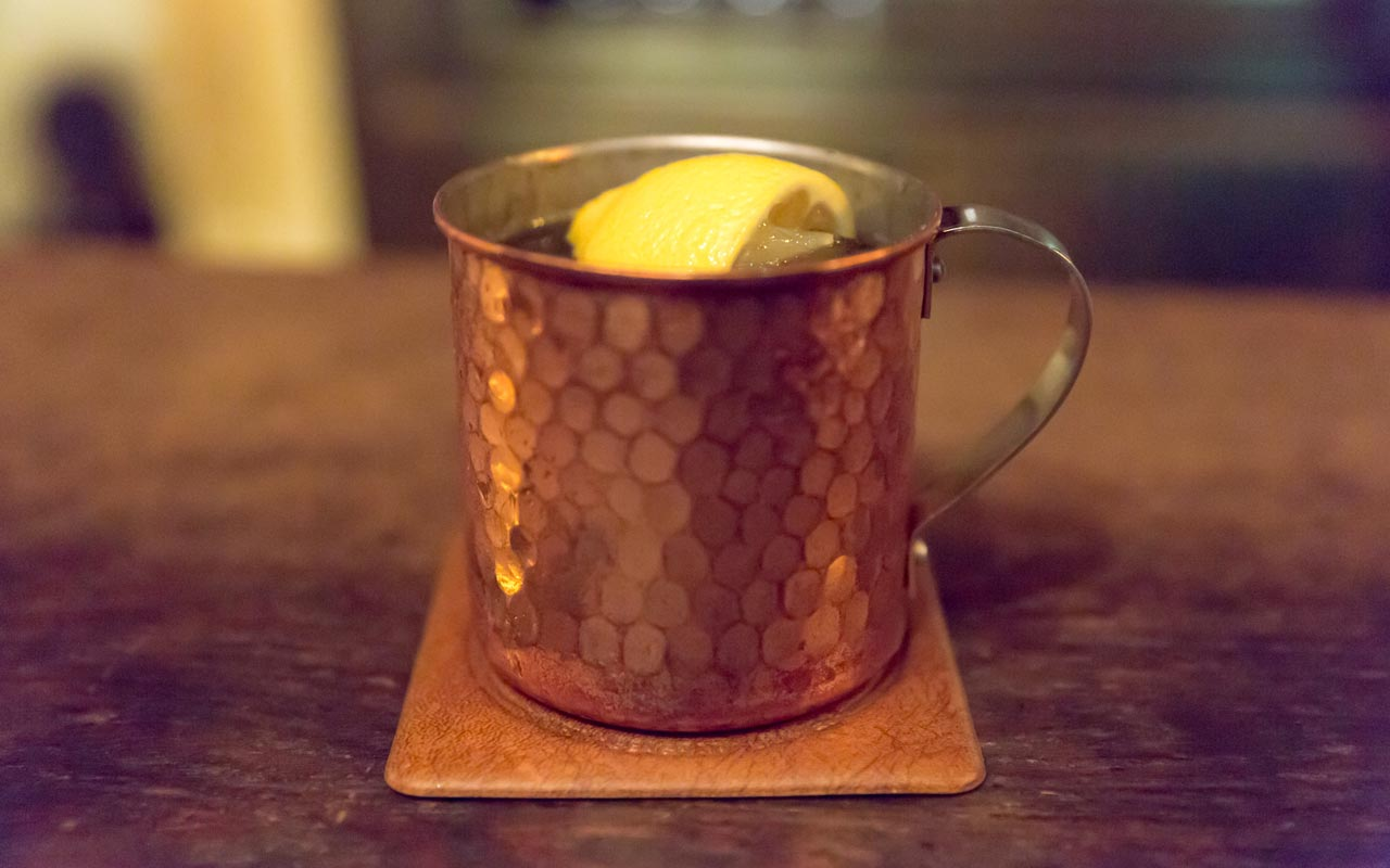 moscow mule served at bar lupin