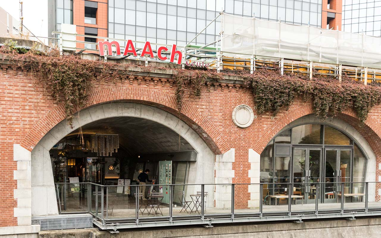 exterior of maach ecute next to kanda river in tokyo