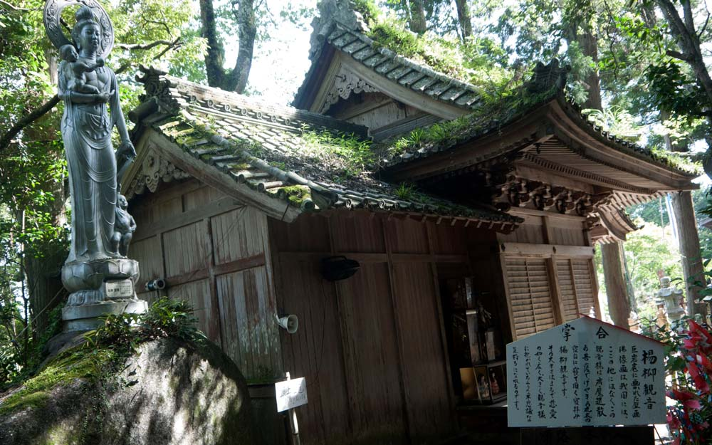 japanese temple with roof covered in grass