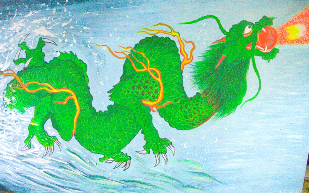 painting of green dragon