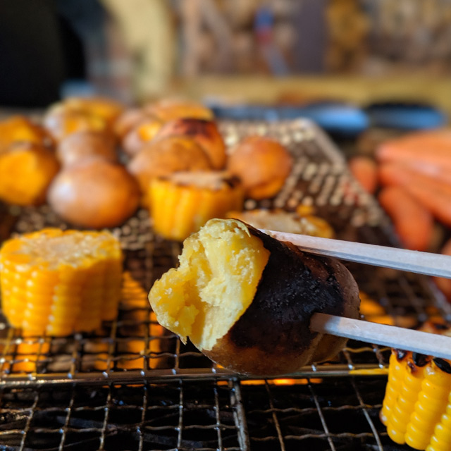 grilled potatoes and corn