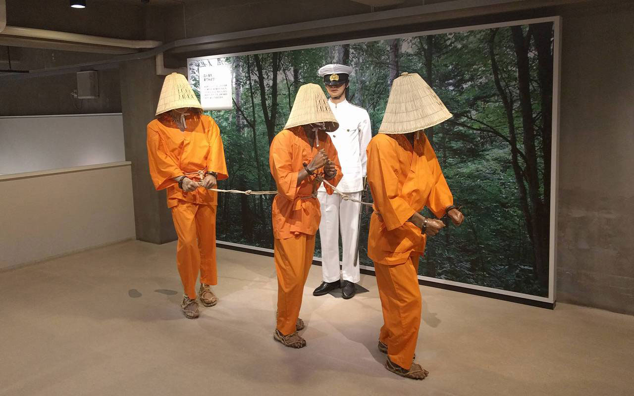 Lifesize models of Abashiri prisoners walking in single file