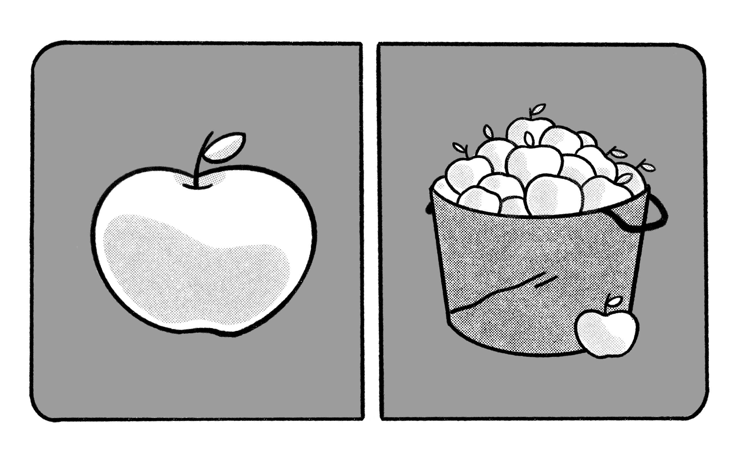 one apple next to a bucket of apples