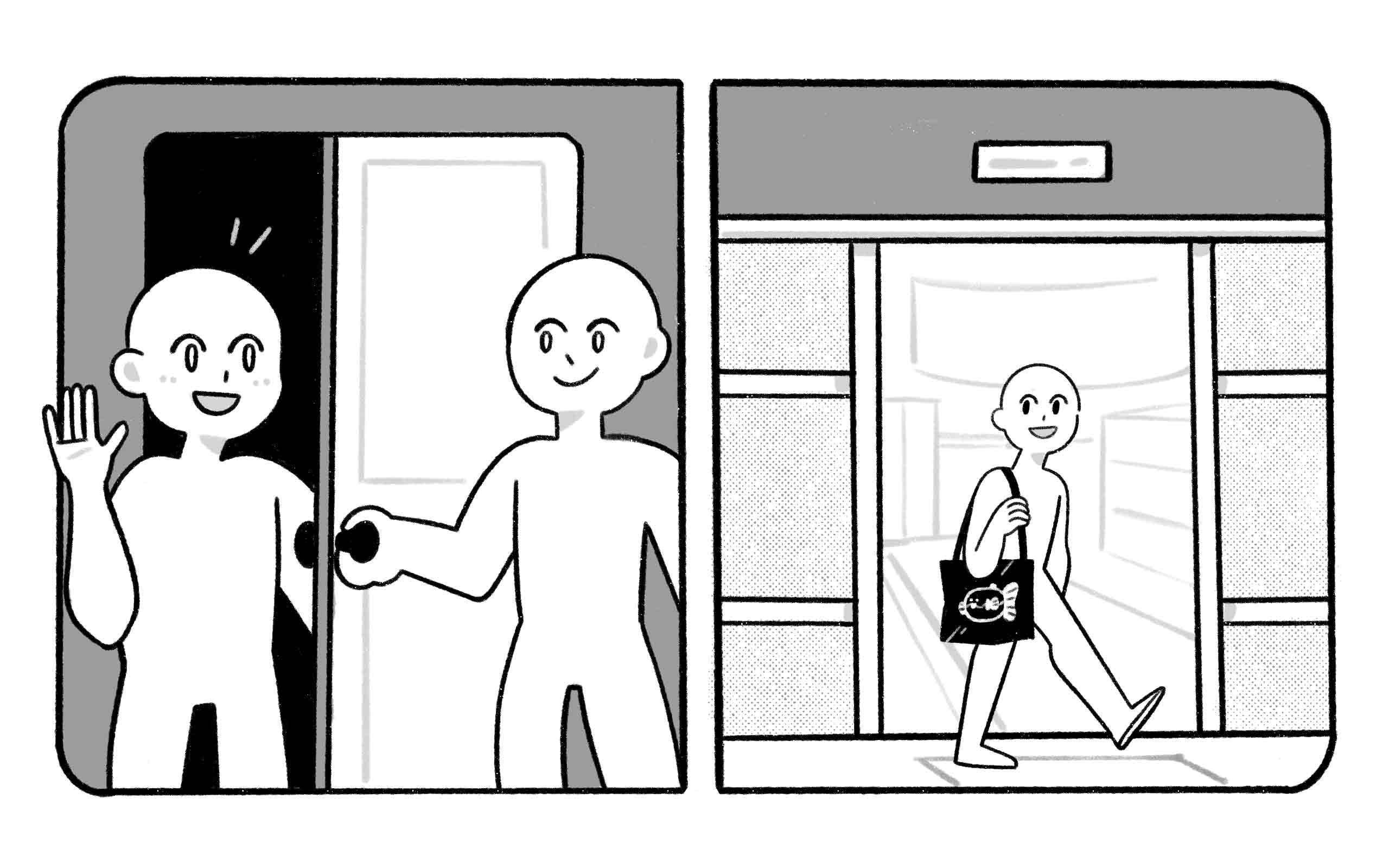 someone opens a door, and a door opens by itself
