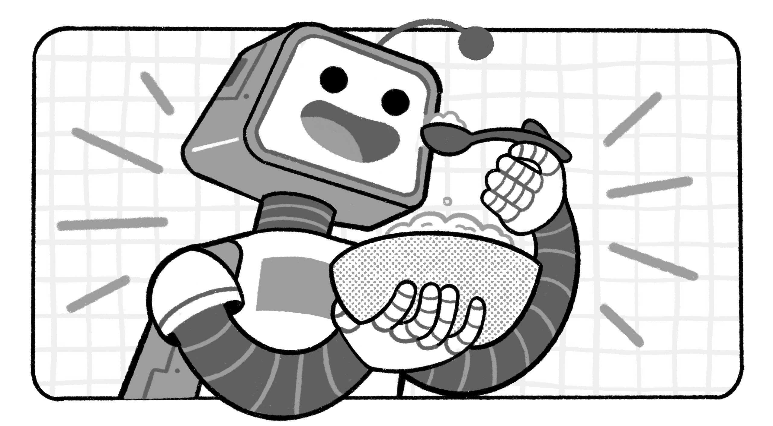 a robot eating food
